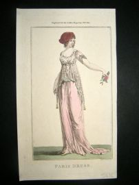 Lady's Magazine 1801 H/Col Regency Fashion Print. Paris Dress 09